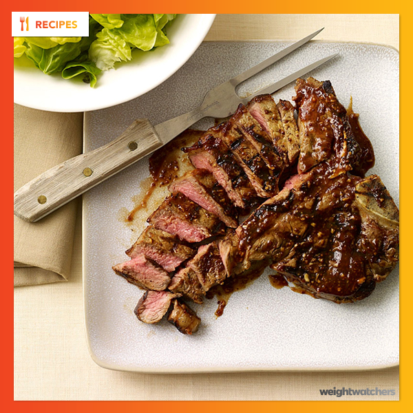 Grilled T-Bone Steak with Easy Barbecue Sauce
