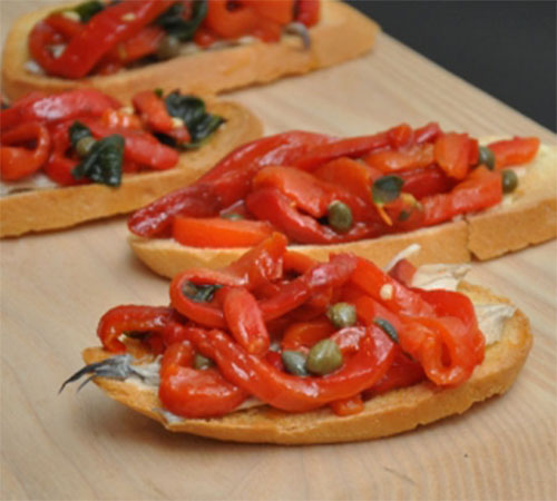 Peperonata Crostini with Capers and Anchovies – 1 Smartpoints