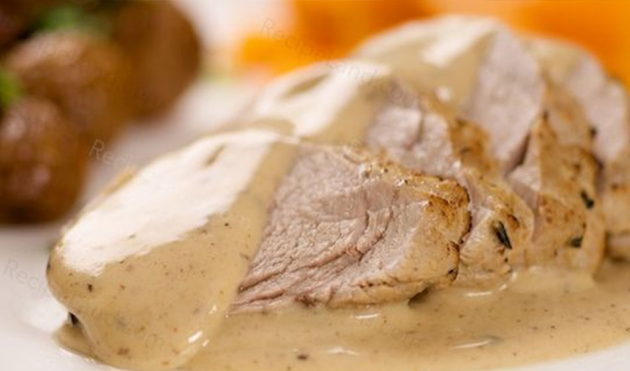 Pork with Red Grapes and  Herb Cream Sauce