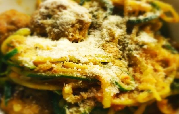 Chicken, Mustard & Garlic Meatballs with Courgetti Spaghetti