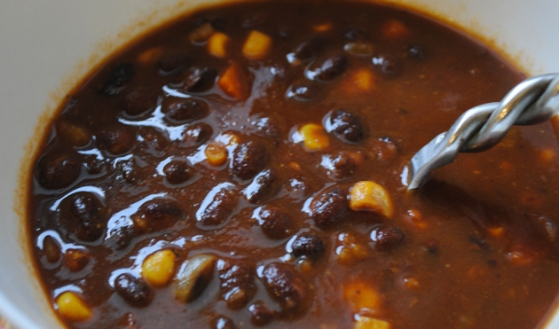 "Pumpkin and Black Bean ""Soup"""