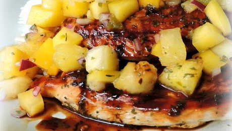 Chicken Breasts With Grilled Pineapple & Tomatillo Salsa