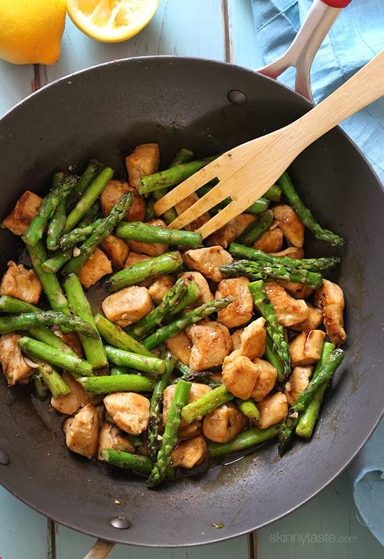 Chicken and Asparagus Lemon Stir Fry (skinnytaste)