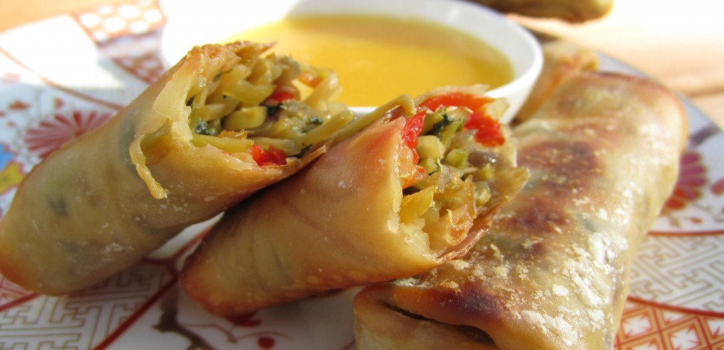 Skinny-Baked-Vegetarian-Egg-Rolls-with-Peanut-Sauce