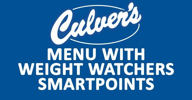 Culver's Menu with Weight Watchers SmartPoints
