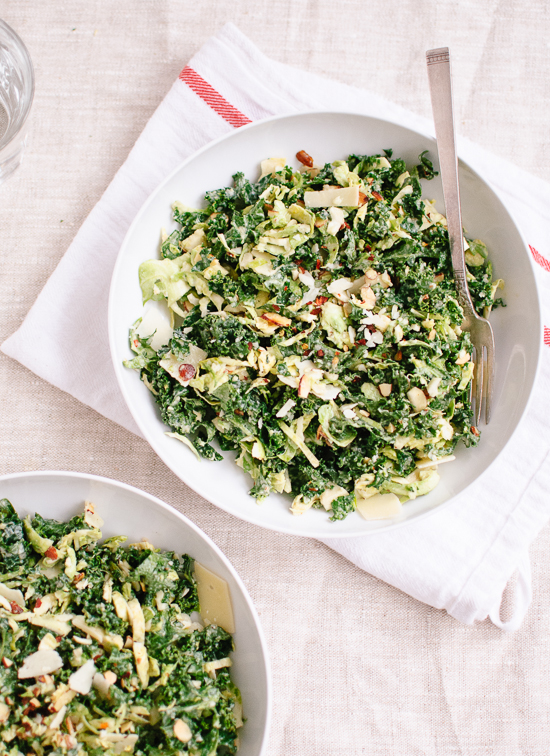 4 SmartPoints Kale & Brussels Sprouts with Creamy Poppy Seed Dressing