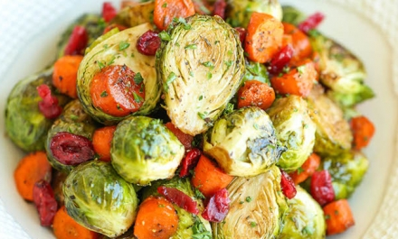 Balsamic Roasted Brussels Sprouts & Carrots