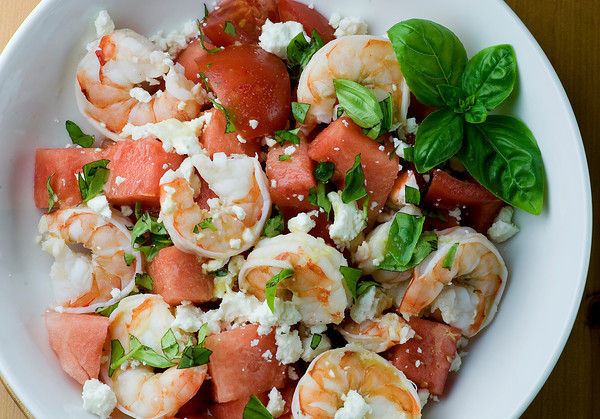 Grilled Shrimp With Watermelon Chopped Salad