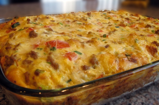 Skinny Points Recipes » Christmas Breakfast Sausage Casserole
