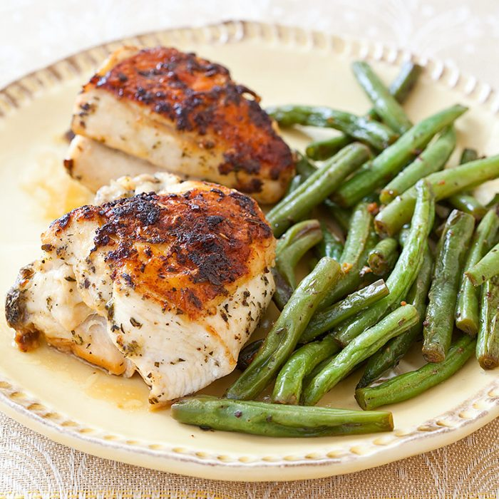 One Pan Creamy Balsamic Chicken Amp Green Beans