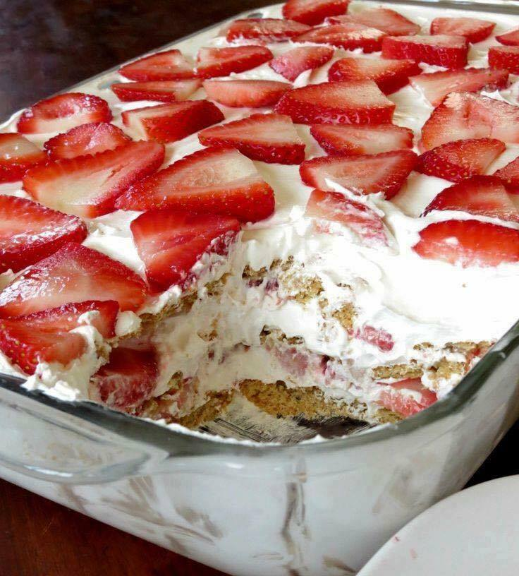 Strawberries Cream Cheese Whipped Cream Sweetened Condensed Milk Cake