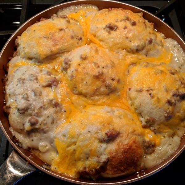 Biscuit Egg and Gravy Casserole